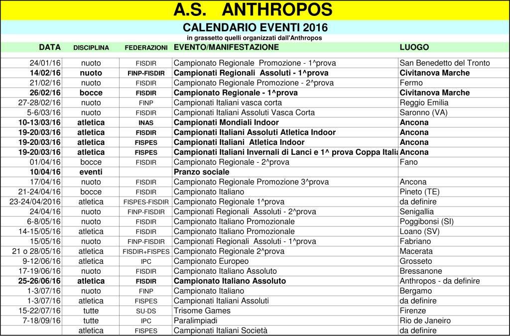 Calendario provvisorio Anthropos stagione 2016